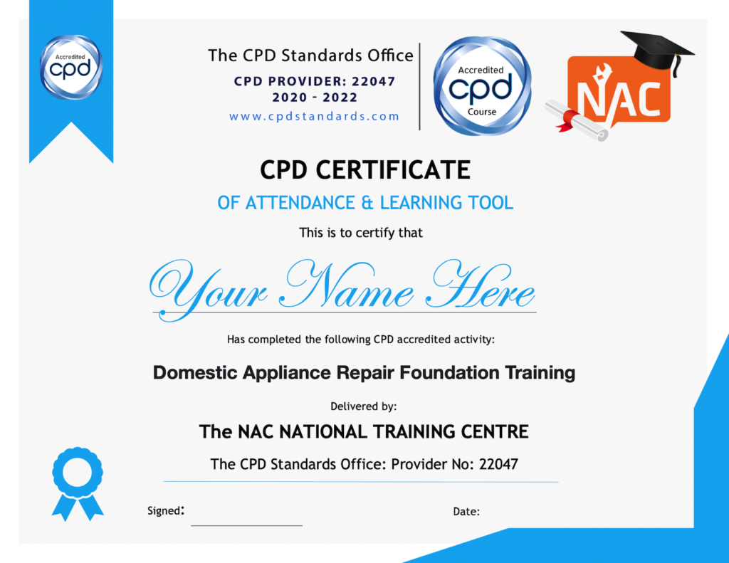 repair training appliance nac loop earth washing impedance electrical electric law testing prefixes basics procedures breakdown component national refrigeration safety